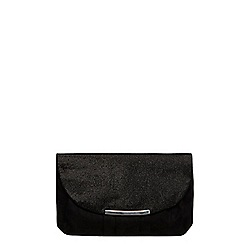 Dorothy Perkins - Black pleat curve clutch bag