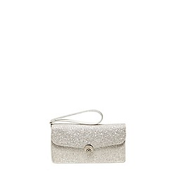Dorothy Perkins - White glitter wristlet clutch bag