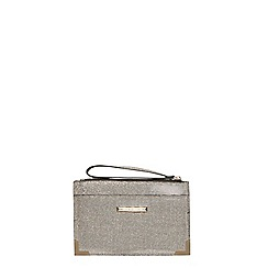 Dorothy Perkins - Grey glitter metal wristlet bag