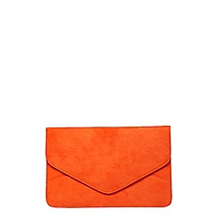 Dorothy Perkins - Orange faux suede clutch bag