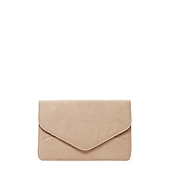 Dorothy Perkins - Stone faux suede clutch bag
