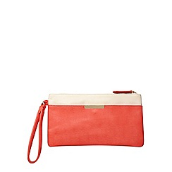 Dorothy Perkins - Coral bar pocket wristlet clutch bag