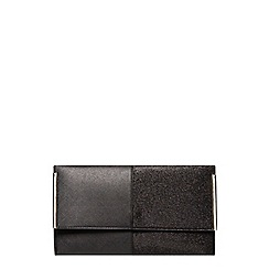 Dorothy Perkins - Black half glitter clutch bag