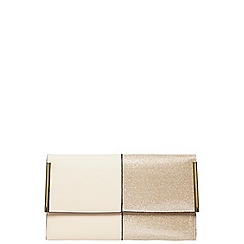 Dorothy Perkins - Gold half glitter clutch bag