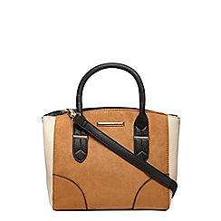 Dorothy Perkins - Tan faux suede mini panel tote bag