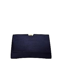 Dorothy Perkins - Navy faux suede frame clutch bag