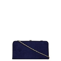 Dorothy Perkins - Navy faux suede box clutch bag
