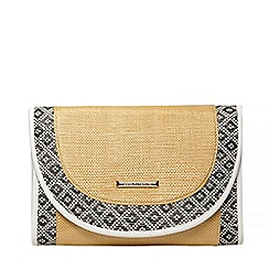 Dorothy Perkins - Raffia mix beach clutch bag