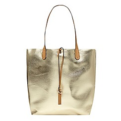 Dorothy Perkins - Gold woven tote bag