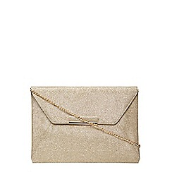 Dorothy Perkins - Gold glitter envelope clutch bag