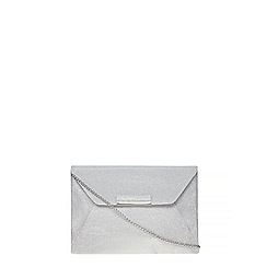 Dorothy Perkins - Silver envelope tab clutch bag