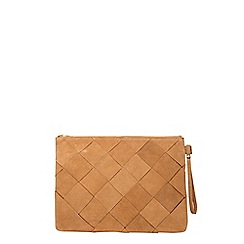 Dorothy Perkins - Tan leather weave wristlet