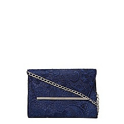 Dorothy Perkins - Navy lace chain clutch bag