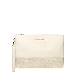 Dorothy Perkins - Nude and gold wristlet clutch bag