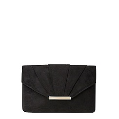 Dorothy Perkins - Black ruche faux suede clutch