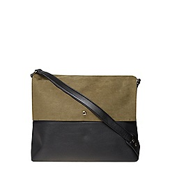 Dorothy Perkins - Khaki faux suede mix cross body bag