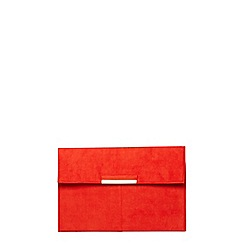 Dorothy Perkins - Red faux suede tab clutch bag