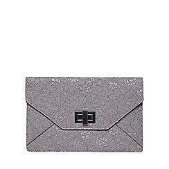 Dorothy Perkins - Grey lace twist lock clutch bag