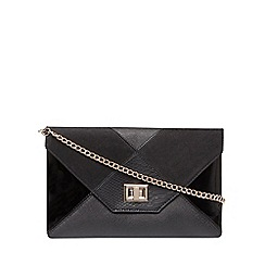 Dorothy Perkins - Black patchwork clutch bag