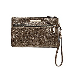 Dorothy Perkins - Gold zip front wristlet bag