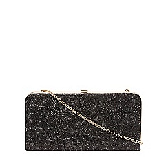 Dorothy Perkins - Black glitter box clutch bag