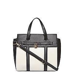 Dorothy Perkins - Black and white lock tote bag