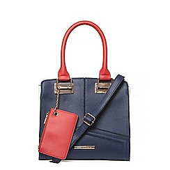 Dorothy Perkins - Navy mix square hardware tote bag