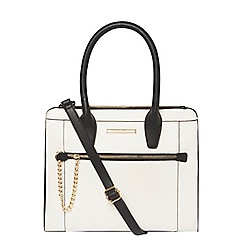 Dorothy Perkins - Bone and black chain tote bag