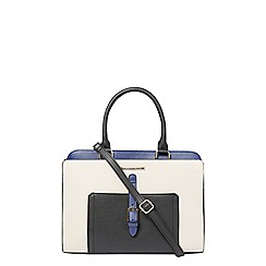 Dorothy Perkins - Bone and blue belted tote bag
