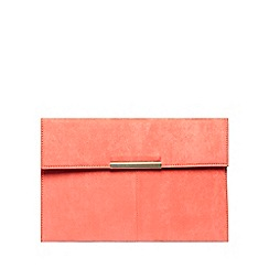 Dorothy Perkins - Coral faux suede clutch