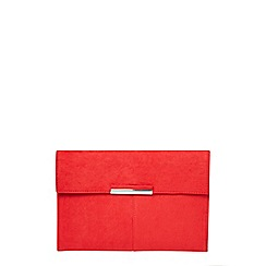 Dorothy Perkins - Red faux suede clutch