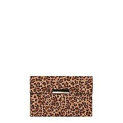 Dorothy Perkins - Leopard faux suede clutch bag