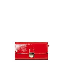 Dorothy Perkins - Red patent pushlock wristlet clutch