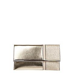 Dorothy Perkins - Gold half and half clutch bag