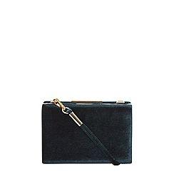 Dorothy Perkins - Green velvet sparkle clutch bag