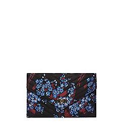 Dorothy Perkins - Black floral satin twist lock clutch bag