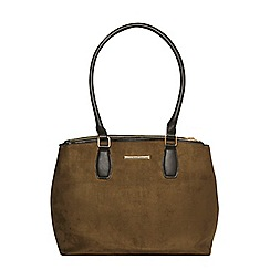 Dorothy Perkins - Khaki double zip tote bag