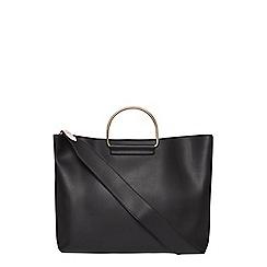 Dorothy Perkins - Black metal handle shopper bag