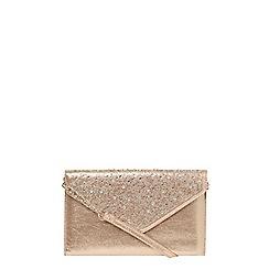 Dorothy Perkins - **showcase gold gem envelope clutch bag
