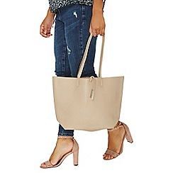 Dorothy Perkins - Beige suede back shopper bag