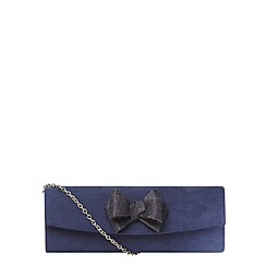 Dorothy Perkins - Navy glitter bow curved clutch bag