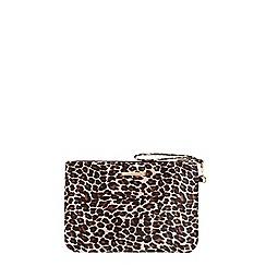 Dorothy Perkins - Leopard velvet wristlet clutch bag