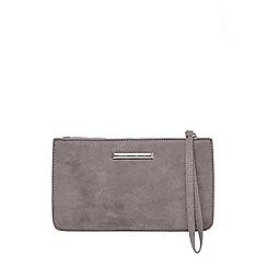 Dorothy Perkins - Dark grey zip top wristlet clutch bag