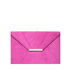 Dorothy Perkins - Magenta suedette envelope clutch bag