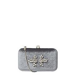 Dorothy Perkins - Grey velvet gem clutch