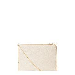 Dorothy Perkins - Gold shimmer side bar clutch bag