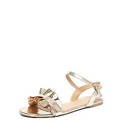 Dorothy Perkins - Gold 'flutter' ruffle sandals