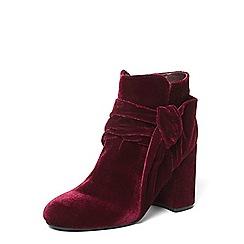 Dorothy Perkins - Burgundy 'Aster' velvet knot boots
