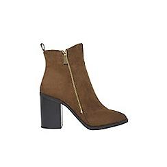Dorothy Perkins - Khaki 'ants' zip heeled ankle boots