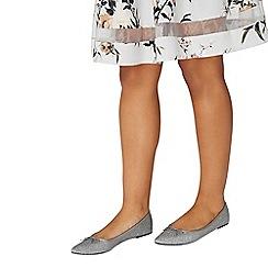 Dorothy Perkins - Silver 'penny' niscos ballerina pumps